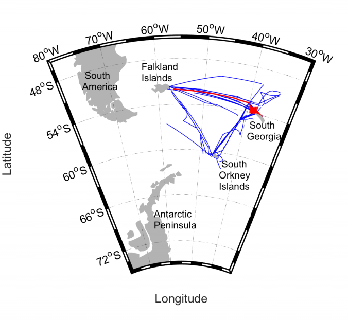 10-years dataset already available in the MESOPP website (blue), and recent cruise JR17002 (red)