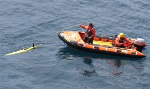 Deployment of the BAS seaglider equipped with a 120 kHz echosounder