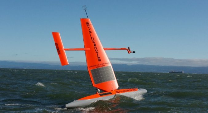 Unmanned science vehicle (Saildrone) during trials in 2018, wind power for propulsion, with a 2.5 m keel that contains the acoustic 38 and 200 kHz transducer (Credits CSIRO)